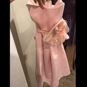 David's Bridal strapless pink bridesmaid dress